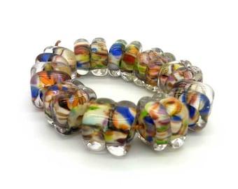 Lampwork glass beads handmade Beads supplies jewelry Beads for jewelry making Set beads Beads SRA Murano  Beads white, yellow, blue, red.