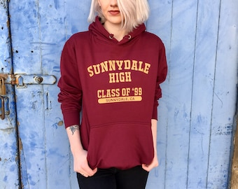 Buffy the Vampire Slayer Hoodie | Sunnydale High Varsity Style Burgundy Top
