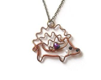 Hedgehog Necklace, Heart Hedgehog Trinket, Custom Made Wire Pendant, Wire Animal, Gift for Hedgehog lover, Wire Wrapped Hedgehog