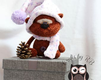 """Handmade, Crochet bear with Knitted pom pom hat and scarf. CraftsByRB """"simply homemade"""""""