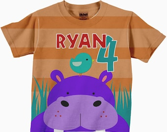 Safari Shirt, Personalized Hippopotamus Birthday Number Tshirt, Boy or Girl Hippo Party Shirt