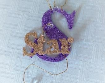 Glitterbit Celebrate Your Star! Glitter Ornament, Cake Topper, Dance Recital, Princess, Glitter Encouragement, Cake Topper, Gift Tag