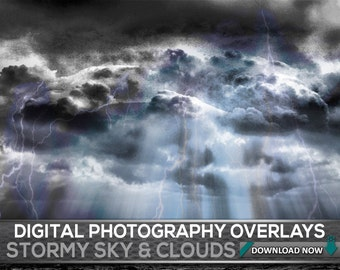 100 Stormy Sky Overlays - Dark Sky Overlays, Thunder And Lightning Sky And Clouds Storm Effects, Digital Background, Digital Backdrop