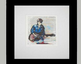 Guitarist woodcut hand-printed single-block reduction print