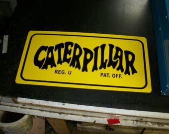 Caterpillar old logo metal sign 10x20 inch
