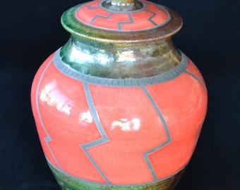Raku Lidded Jar/Urn