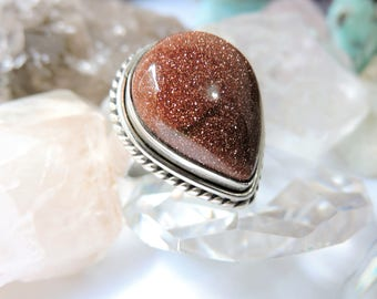 Sand Stone Sterling Silver Ring Size 8.5