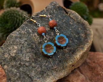 Flower Earrings, Maya Blue Czech Hawaiian Flower and Carved Soapstone, Handmade Jewelry, Gift Ideas for Her from The Hidden Meadow