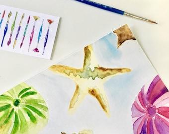 Seashell Watercolor Print // Home Decor Art