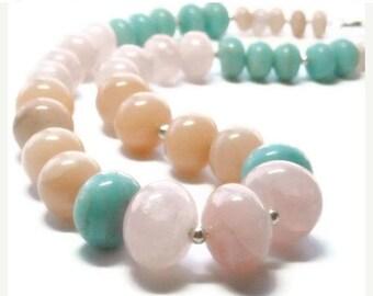 Sale| Pastel Gemstone Necklace - Pastel Jewelry - Graduated Rose Quartz, Peruvian Opal Necklace - Peach Aventurine - Color Block - Chunky Ne