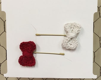 Crochet bow bobby-pins