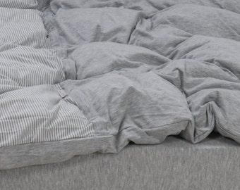 Ticking Striped Duvet Cover Light Melange Grey Jersey Duvet Cover Twin  Queen College Cotton Bedding