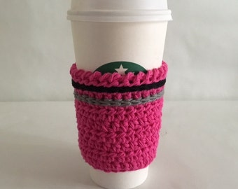 Travel Mug Cozy Hot Pink Cozy with Black  and Gray TrimeCup Cozy Sleeve Crochet Cup Cozy Made to Order