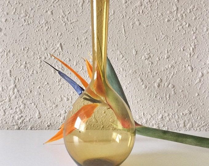 vintage amber glass bulbous vase