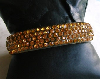 Antique Vintage Celluloid Rhinestone Bangle Bracelet, Flapper Bracelet, Old Rhinestone Bracelet