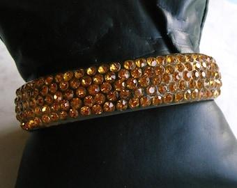 Antique Vintage Celluloid Rhinestone Bangle Bracelet, Flapper Bracelet, Old Rhinestone Bracelet