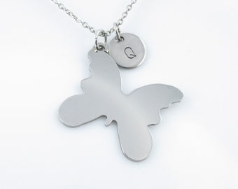 Butterfly Necklace, Butterfly Charm Necklace, Personalized, Initial Necklace, Stainless Steel Butterfly Pendant, Silver Butterfly Y193