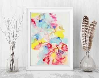 Pastel Painting, Wall Art, Living room decor, Abstract Painting, Giclee Print, Home Decor, Pastel, Bright Color Art