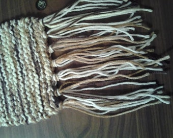 Shades of brown and white knitted scarf