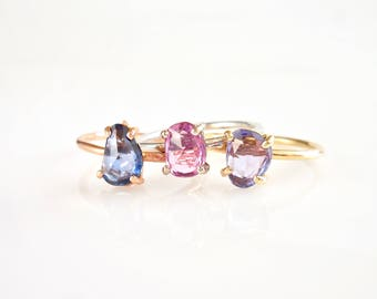 Rose Cut Sapphire Ring - Asymmetrical Sapphire Ring, Sapphire Engagement, Pink, Purple or Blue Sapphires, September Birthstone, 14K Gold