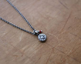 pacem medal #6, oxidized sterling silver necklace
