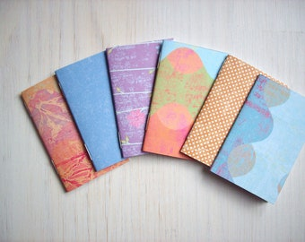 Notebooks: 6 Tiny Journals Set, Bright, Journals, Jotters, Mini Journals, Small Notebooks, - Set of 6