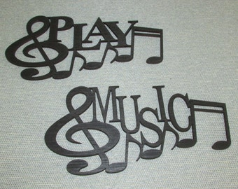 MUSIC and PLAY with Music Notes Wall Art Set Laser Cut wood