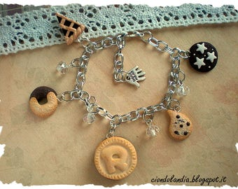Polymer clay Italian cookies bracelet (miniature food jewelry)