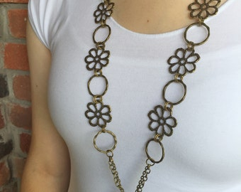 Flower Power Antique Bronze Lanyard Necklace