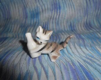 Miniature Bone China Kitty Cat With Milk Bottle   #F