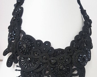 Black soutache statement   necklace,  embroidered   - Must Have for total black lovers