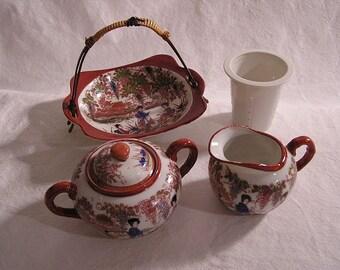 80s Tea set China / 4 Piece set / Finest Porcelain / Hand painted
