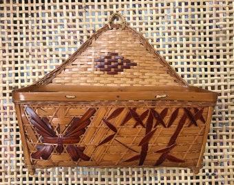 Vintage wicker butterly hanging basket
