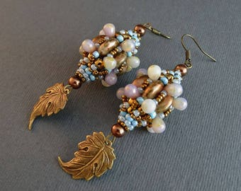 Beaded Bead Earrings//Pearl//Chocolate//Turquoise//Bronze//Free Shipping