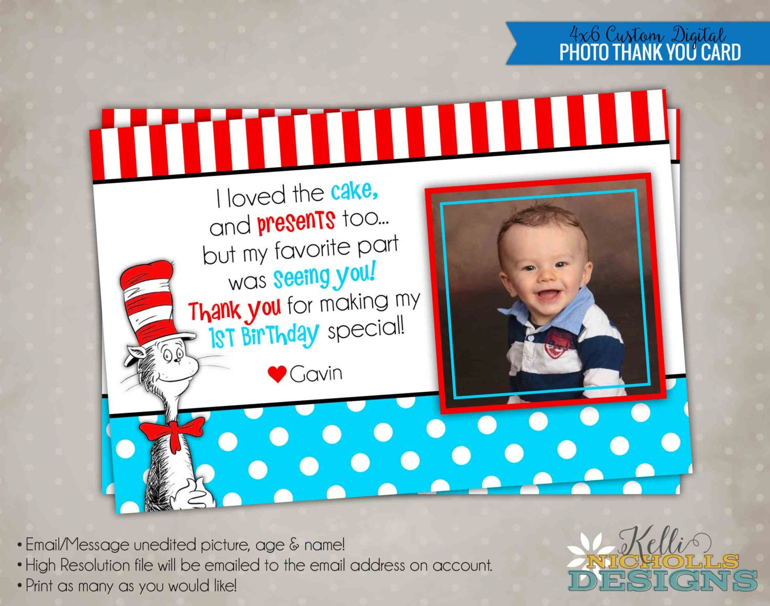 Cat in the Hat Children\'s Photo Birthday Party Thank You