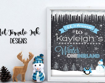 Winter Onederland-Welcome Sign, Blue,Pink Party Decorations-One year old birthday-1 year old party- Party Sign-Banner- Party Decor-Printable