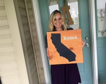 "California Sign; LARGE 11.25"" x 11.25"" California; Pick a State; California Wood Sign; State Sign; California Art; Large Sign; Wood Art"