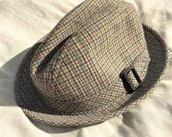 Vintage 70s Pendleton Tan Blue Tweed Hat 7 1/4