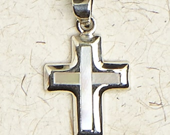Tiny Cross w/ Mother of Pearl-.925 Sterling Silver-Christian-Religion-Pendant-Jewelry