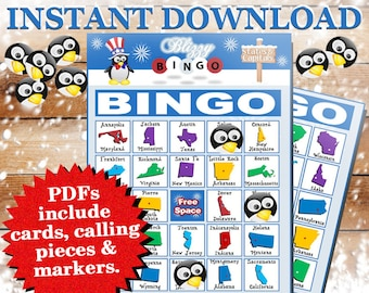 Blizzy Bingo UNITED STATES printable PDFs contain everything you need to play Bingo. You'll get 30 bingo cards, calling cards & markers.