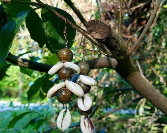 Layered Beaded Cowrie Shell Earrings