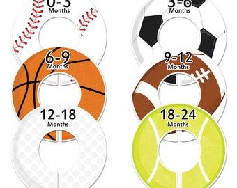 6 Baby closet dividers boy sports clothes dividers (No.47) Closet Doodles®