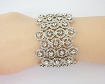 Bridal Bracelet, Rhinestone Bracelet, Stretch Bracelet, Vintage Design, Wedding Bracelet, Brides Bracelet, Wide Bracelet