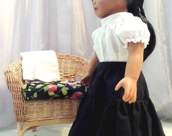 White Doll Blouse and Black Doll Skirt / 18 Inch Doll Clothes / Doll Clothing / Doll Accessories / Fits American Girl Doll - 5005