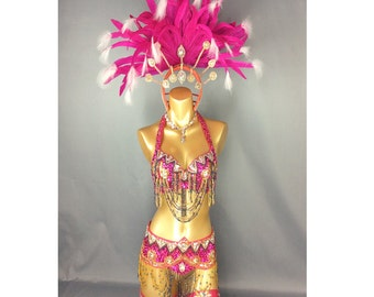 Samba Rio Carnival Costume Feather Headdress , feathers costume Hop Pink accept any size