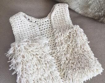 Crocheted vest with fringe