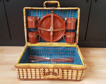 Complete Vintage Wicker, Picnic Basket with set Dinnerware, Boho Basket, Wicker Suitcase