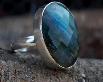 Labradorite Ring, Faceted Blue Labradorite sterling silver ring, Faceted Blue Labradorite Solid silver ring Jewelry