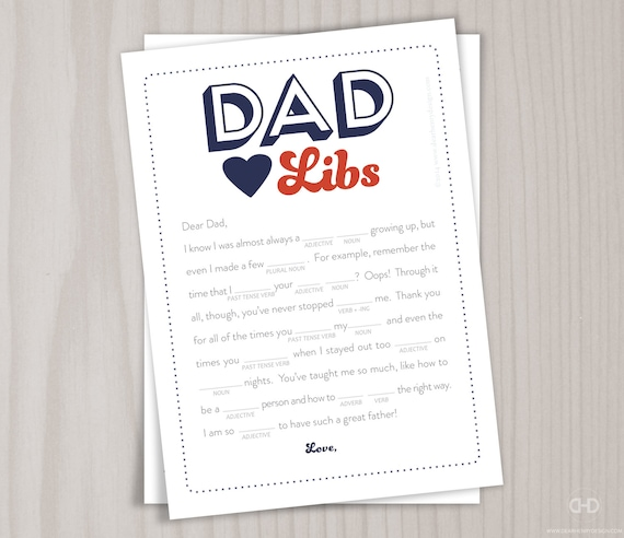 Fathers Day Dad Libs Card Birthday Card For Daddy Instant