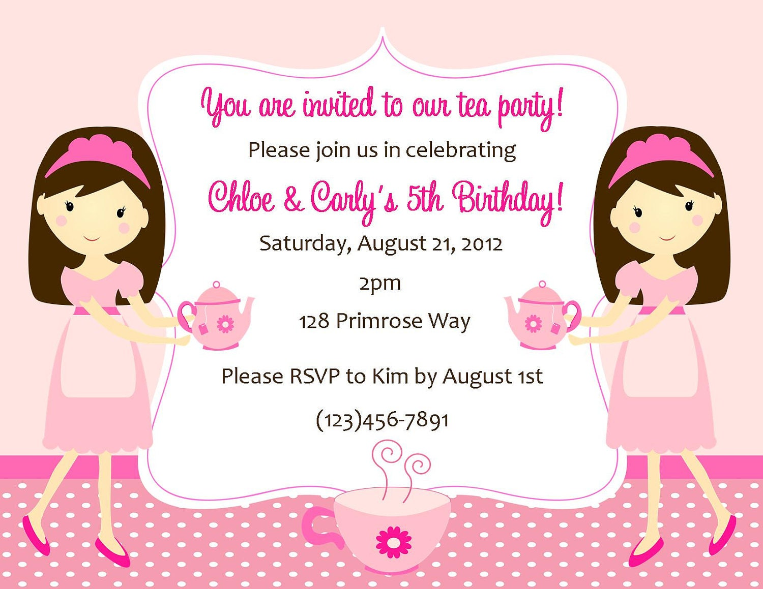 Tea Party Invitation Digital File Tea Party Birthday